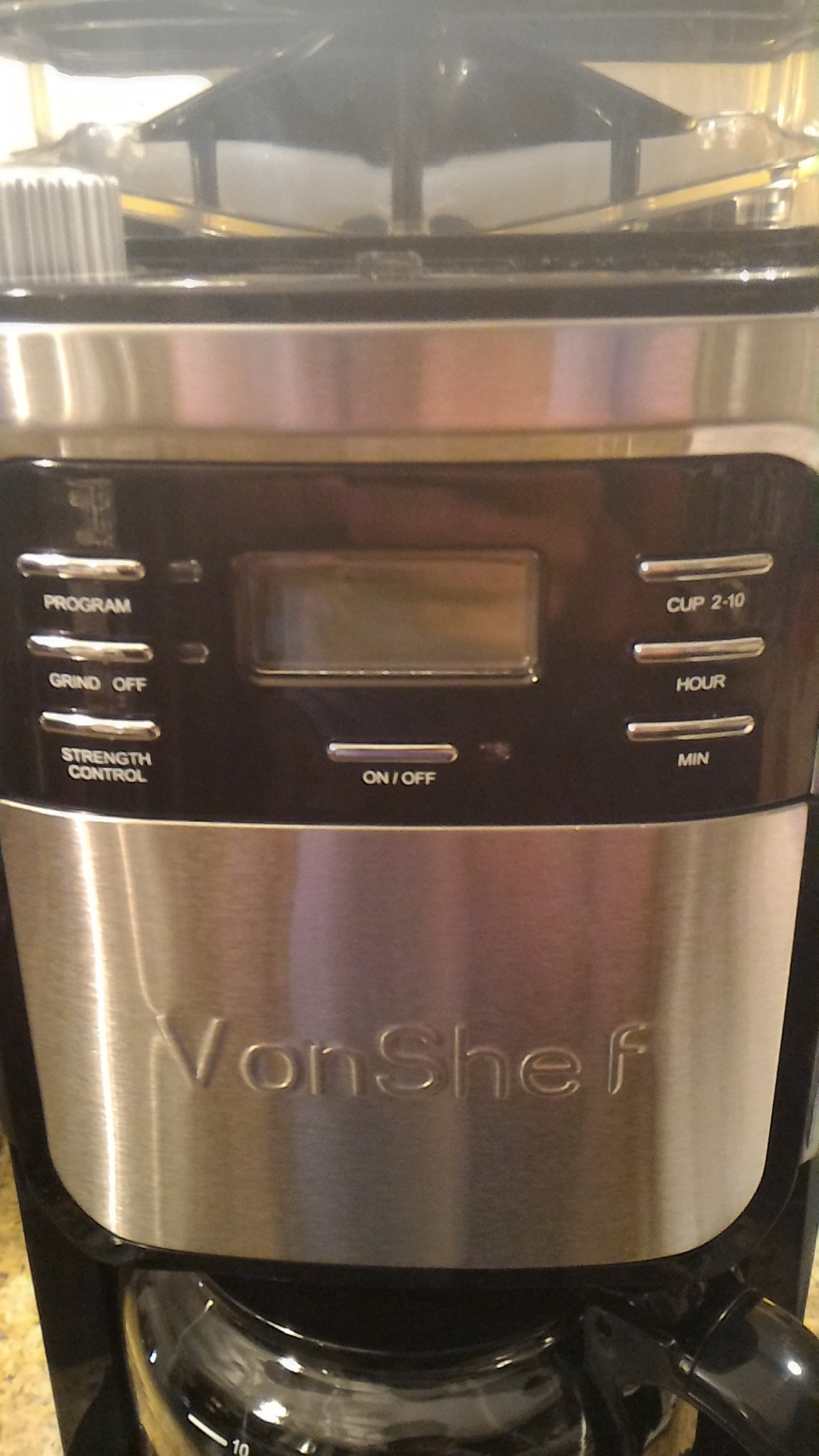 Coffee Maker Built In Grinder Reviews : VonShef 900W 10 Cup Digital Filter Coffee Maker with Built-in Grinder and Reusable Filter ...